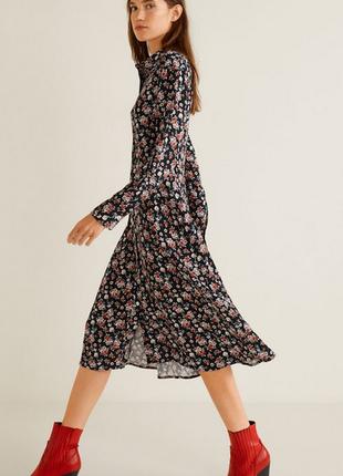 Платье-рубашка, цветочный принт, манго