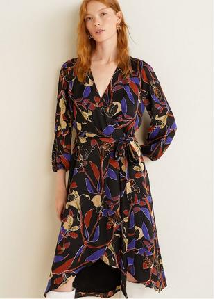 Платье с цветочным принтом на запах, манго