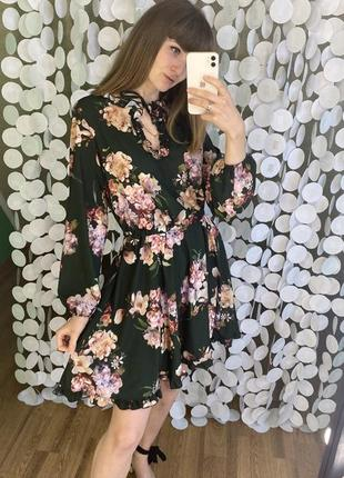 Шикарное платье цветочный принт2 фото