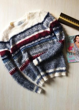 Невероятный пушистый свитер травка в узор cotton club, one size