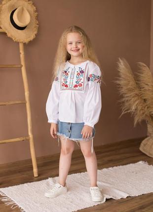 Симпатичная блуза-вышиванка ясочка р. 104-158