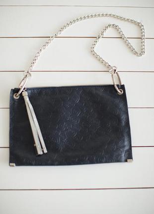 Кожаный клатч-сумочка темно синего цвета