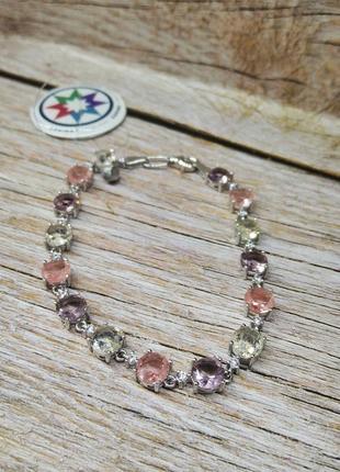 Браслет серебро 925 разноцветные камни пастельные тоны