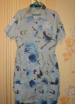 Летнее платье на пуговицах хлопок+ шелк (германия)