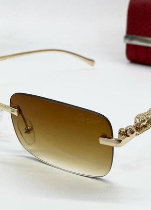 Cartier очки женские солнцезащитные коричневые прямоугольники с фигурными дужками