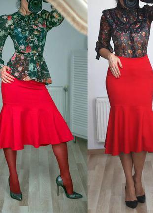 Шикарная,эффектная,нарядная юбка-русалка с воланом, высокая посадка/талия, р.m-l