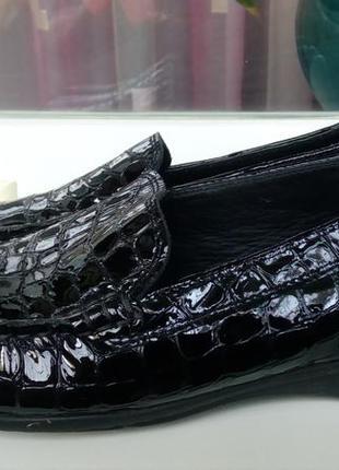 Стильные новые кожаные лоферы,имитирующие кожу крокодила,ecco(original).