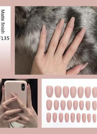 Матовые накладные ногти 10 шт.