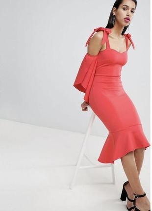 Вечернее выходное платье клёш волан яркое платьице