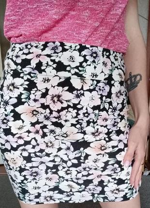 Юбка завышенная цветочный принт юбочка спідниця
