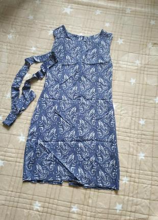 Летнее супер легкое платье с поясом