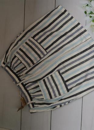 Льняная полосатая юбка размер л next8 фото