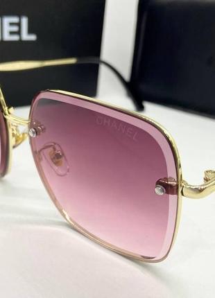 Chanel очки женские солнцезащитные квадраты с розовыми линзами