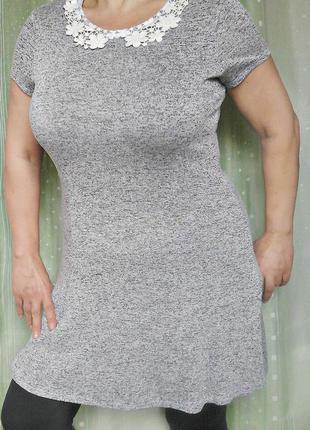 Меланжевая туничка, платье, 82% вискозы, не мнется