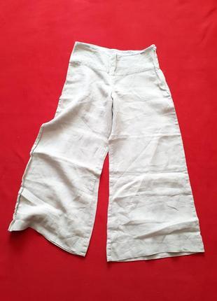 Льняные штаны брюки укороченные широкие палаццо кюлоты р s м