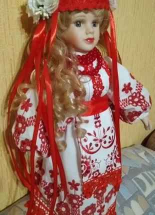 Кукла украинка, сувенир, фарфор