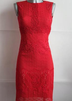 Кружевное платье karen millen красного цвета