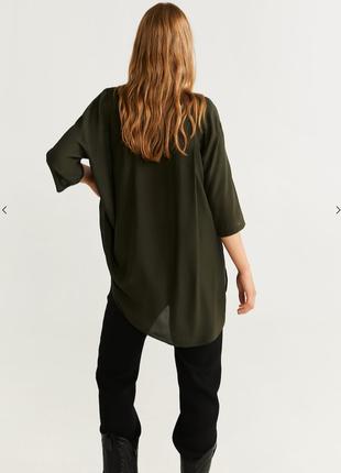 Темно-зелена легка сорочка mango2 фото