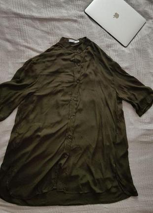 Темно-зелена легка сорочка mango3 фото