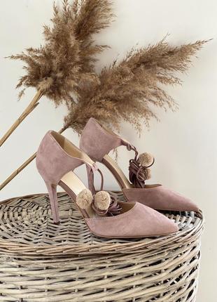 Замшевые туфли лодочки на завязках spm, размер 38