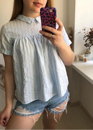 Хлопковая блуза zara свободный топ распашенка хлопок