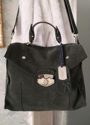 Крутая замшевая сумка-портфель esprit👜👜💣🔥🌷