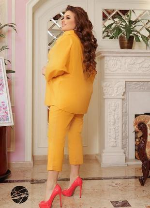 Размеры от 48 до 66!!! льняной костюм из рубашки и брюк горчичный3 фото