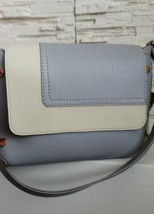 Комбінована сумка (блакитно/бежева)