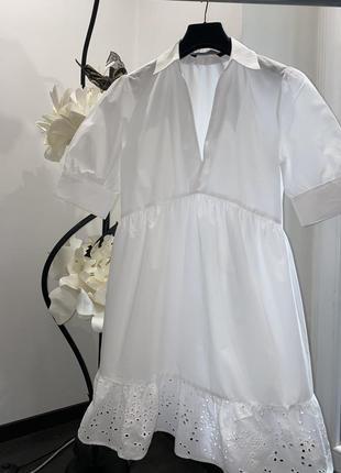 Платье с прошвой zara