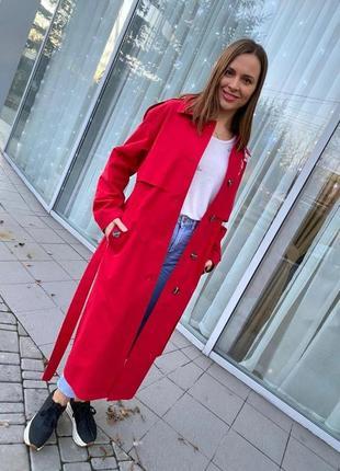 Шикарный женский длинный коттоновый красный плащ тренч с вышивкой