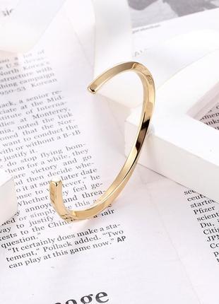 Классический открытый браслет в золотом цвете, из нержавеющей стали