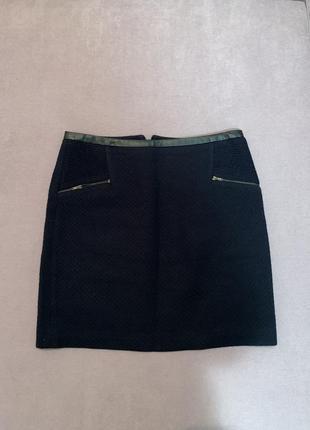 Синяя мини юбка трапеция а силуэта carol