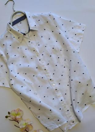 Льняная рубашка в горошек punt roma