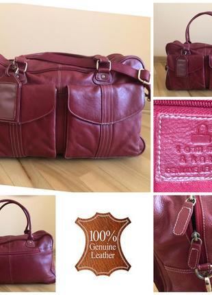 Красная кожаная дорожная сумка из натуральной кожи tommy&kate