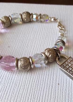 Браслет с серебряной подвеской , ювелирное  стекло  и ( aurora borealis). винтаж