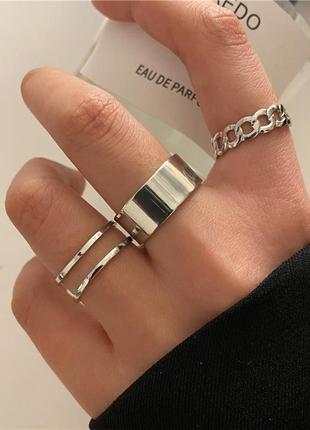 Набор колечек 3 штуки крупная цепь серебристый цвет / большая распродажа!