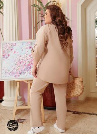 Размеры от 48 до 66!! льняной костюм из блузы и брюк прямого кроя  бежевый