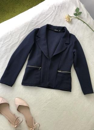 Темно-синий пиджак в рубчик жакет блайзер жіночий темно-синій піджак