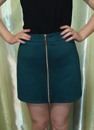 Замшевая юбка на молнии2 фото