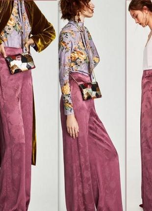 Атласные брюки палаццо с высокой талией р. м zara жаккард бордово-фиолетовый3 фото