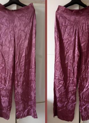 Атласные брюки палаццо с высокой талией р. м zara жаккард бордово-фиолетовый4 фото