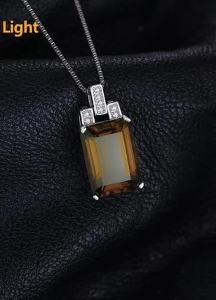 Серебряная подвеска с переливчатым султанитом и фианитами3 фото