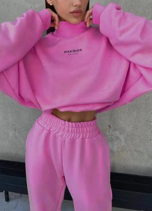Костюм розовый спортивный штаны спортивные толстовка кофта топ1 фото