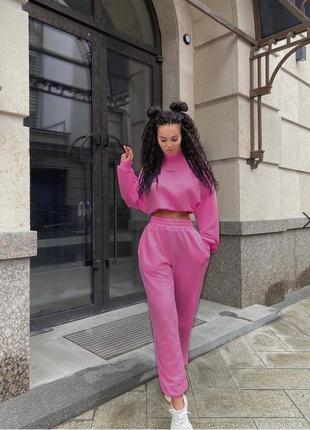 Костюм розовый спортивный штаны спортивные толстовка кофта топ2 фото