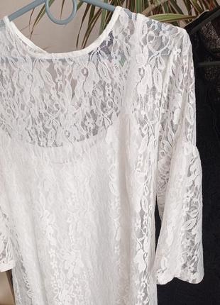 Нарядное гипюровое белое платье 36р 38р2 фото