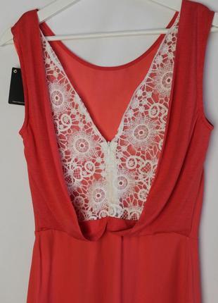 Massimo dutti новое платье сарафан с ажурной вышитой спиной вискоза натуральное3 фото