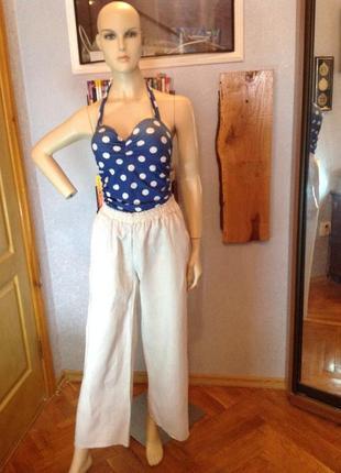 Льняные брюки фасон палаццо, бренда zebra, р. 44-461 фото