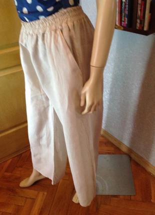 Льняные брюки фасон палаццо, бренда zebra, р. 44-463 фото