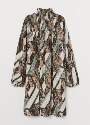 Шикарна сукня в зміїний принт з об'ємними рукавами від h&m2 фото
