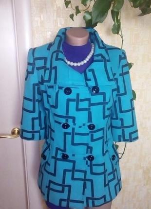 Красивое бирюзовое пальто/пальто/полупальто/куртка/кофта/кардиган/пиджак/жакет/2 фото